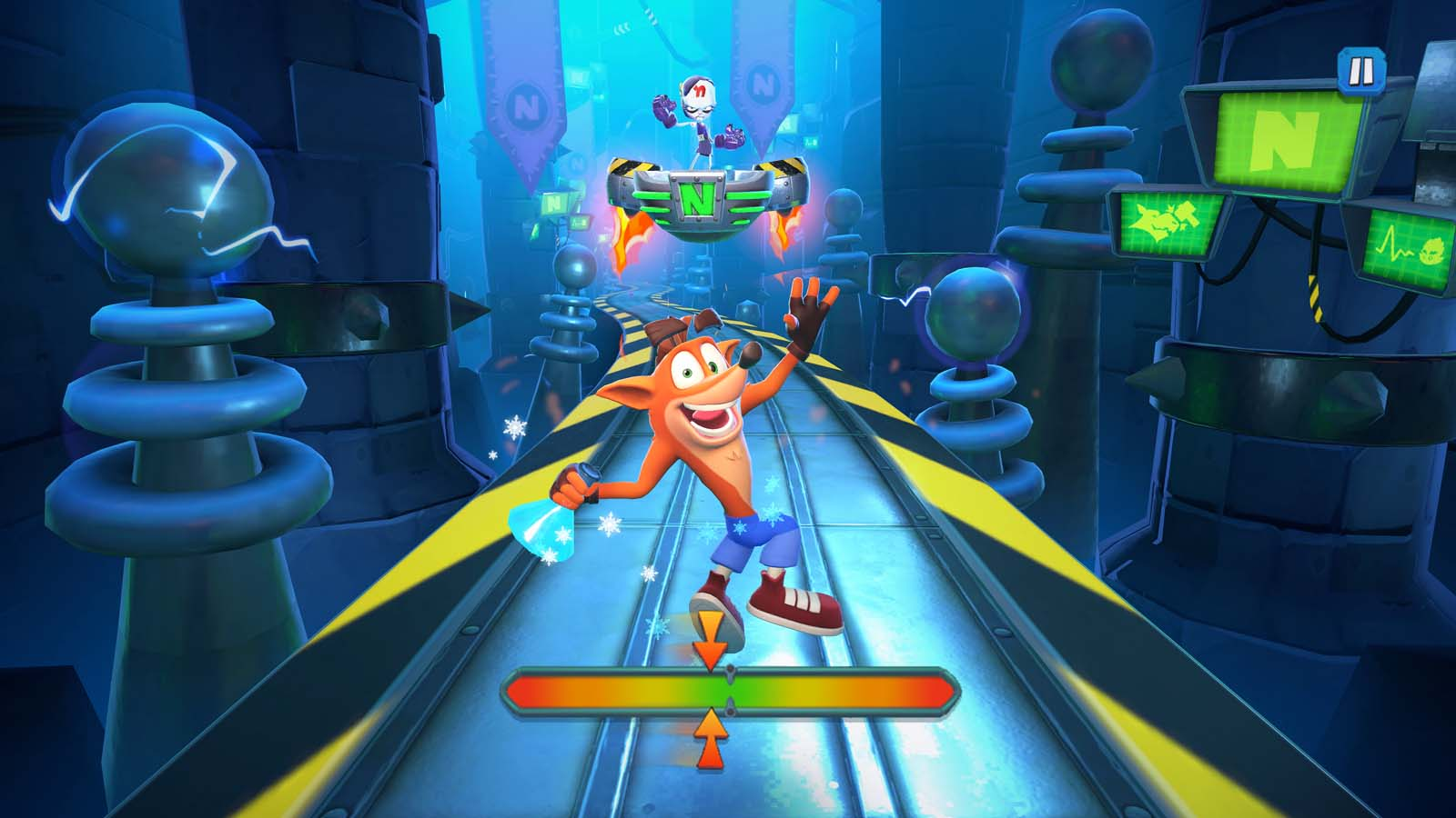 In Crash Bandicoot: On the Run!™ , Dr. Neo Cortex has dispatched iconic villains across the multiverse to take control of all dimensions. With the help of his sister Coco, Crash must bash Cortex's minions back to their own dimensions!